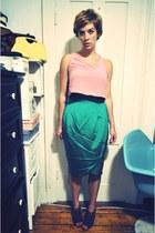 turquoise blue thrifted vintage skirt - purple Pour La Victoire heels