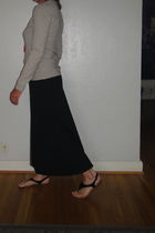 black Old Navy skirt - shirt - shoes - red necklace