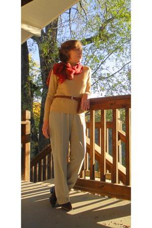 sweater - Van Huesen pants - Bandolino shoes - scarf