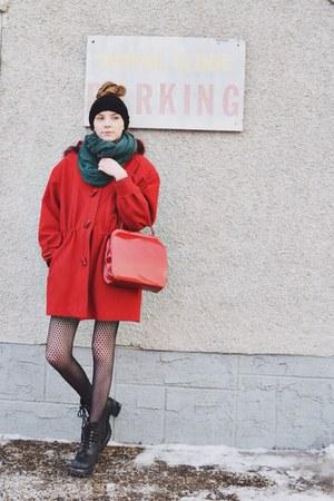 black knit headwarmer Target hat - red Value Village coat - black Target tights