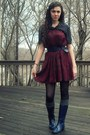 Navy-boots-charcoal-gray-gap-socks-black-polka-dot-vintage-blouse-crimson-