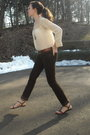 Beige-vintage-top-brown-delias-pants-gold-forever-21-necklace-brown-shoes-