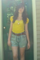 yellow Wet Seal top - gold vintage necklace - jean diy shorts