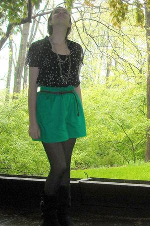 black Candies blouse - green vintage shorts - brown Wet Seal belt - black vintag
