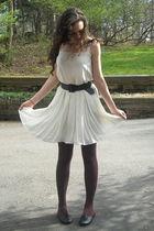 black so shoes - white vintage dress - pink vintage Lacoste jacket - blue vintag