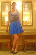 blue delias skirt - Forever 21 top - vintage belt