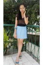 sky blue skirt - forest green blouse