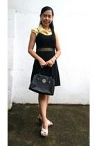 black cocktail dress dress - black handbag Guess bag