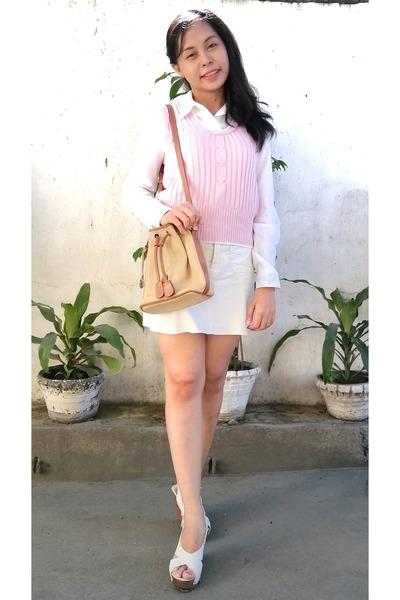 light yellow Old Navy skirt - light pink vest