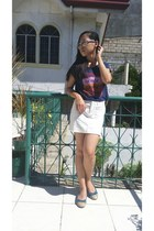 cream skirt - navy top