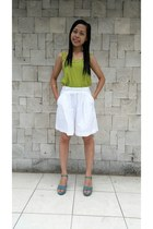 chartreuse chartreuse top - turquoise blue wedges