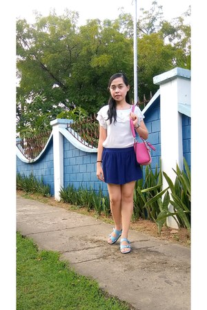 hot pink Aldo bag - blue skirt
