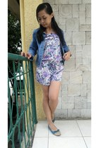 periwinkle romper - blue Guess jacket