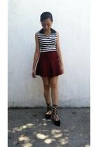 black flats - brick red skirt