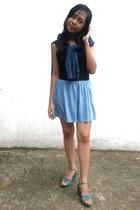 turquoise blue Aeropostale sweater - sky blue aviva skirt