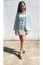 light blue un deux trois blazer - light blue floral denim Bornama Jeans skirt