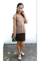 dark green pencil skirt - beige dainty chiffon top