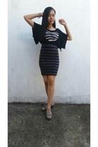 gray H&M dress - black top