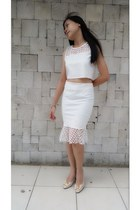 neutral shoes - off white top - off white skirt