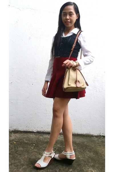 brick red skirt - white button down Callia top