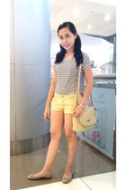 white shirt - cream shoulder Lords bag - light yellow shorts