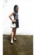 black dress - white Nine West bag
