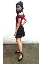 black Callia skirt - ruby red GMG top - black SnH flats