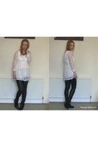 white lace OASAP dress - black ambush boots boots - black faux leather H&M pants