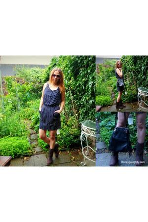 navy mini In Love with Fashion dress - dark brown dessert Ellos boots