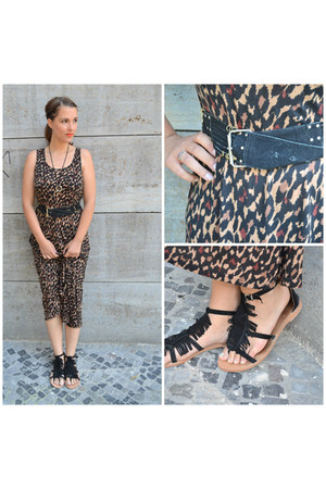 black vintage belt belt - brown maxi dress H&M dress - black Black Lily sandals
