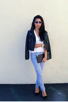 moto Nasty Gal jacket - Alexander Wang bag - paisley Paige Denim pants
