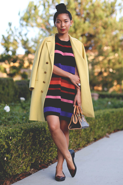 striped Three Of Something dress - yellow Jill Stuart coat - Louis Vuitton bag