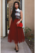 tulle Boohoo skirt - evening JustFab bag - plaid Boohoo top