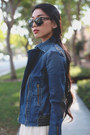 Blessed-are-the-meek-dress-denim-james-jeans-jacket-warby-parker-sunglasses