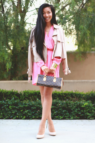 pink Electric Frenchie dress - Nasty Gal coat - Nasty Gal heels