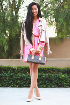 pink Electric Frenchie dress - Nasty Gal coat - Nasty Gal heels