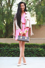 Pink-electric-frenchie-dress-nasty-gal-coat-nasty-gal-heels