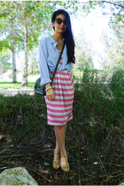 pink striped asos dress