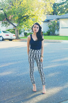 navy cowl Forever 21 top - off white diamond print H&M pants