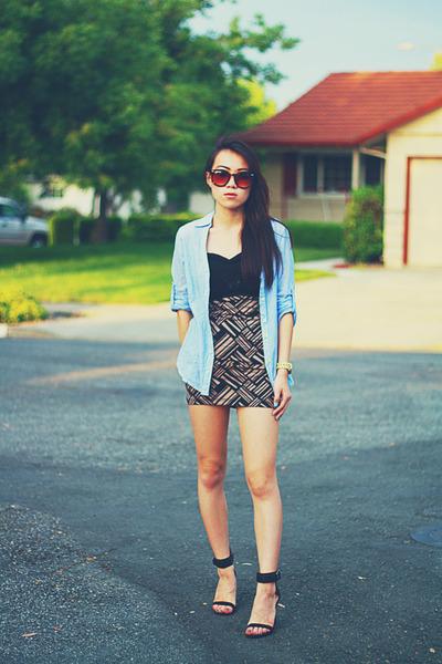 tan basketweave Forever 21 skirt - light blue button down Forever 21 shirt
