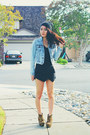 Light-blue-acid-wash-denim-forever-21-jacket-black-origami-sheinside-skirt