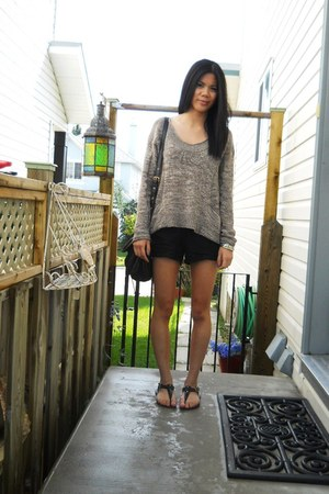 brown Urban Outfitters sweater - black wilfred shorts