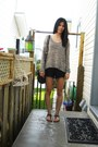 Brown-urban-outfitters-sweater-black-wilfred-shorts