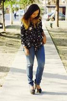 black Moonlight blouse - navy Bershka jeans - black fahrenheit pumps