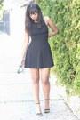 Black-f21-dress-black-random-sunglasses-black-zara-heels