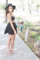 black Forever 21 hat - black Chicwish top - black Bershka skirt