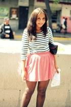 black polka dot random brand tights - black random brand bag - pink Zara skirt -