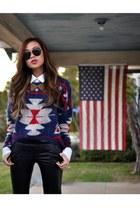 black western style Zara boots - blue tribal print sweater