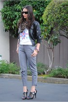 heather gray H&M pants - amethyst Urban Outfitters top - Blue Vanilla bracelet