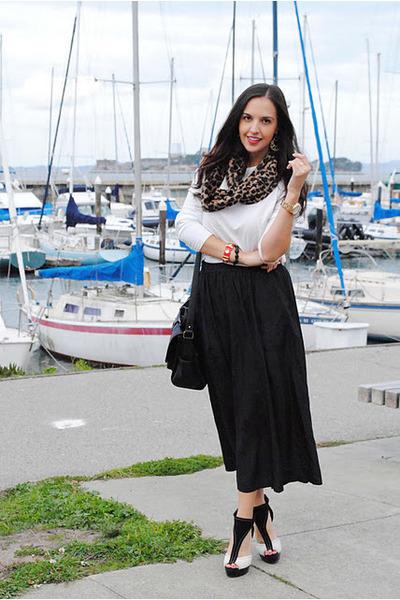 Harajuku heels - Blue Vanilla scarf - vintage skirt